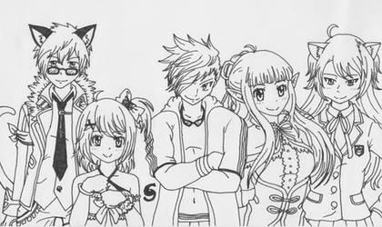 Aura Kingdom - Nightcore's Team Nyan! Lineart by Saja-san