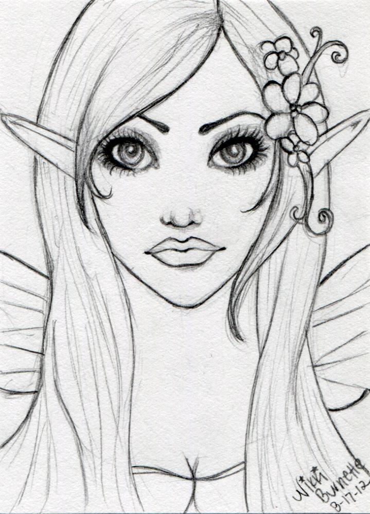 Fairy Elf ACEO Sketch by Aurella