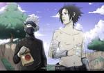 Kakashi and Sasuke- tomato break XD