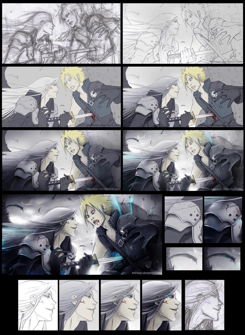 Sephiroth vs Cloud WIP by Kibbitzer