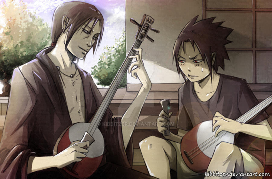 Uchiha Brothers: Sharingan-Shamisen Training XD by Kibbitzer