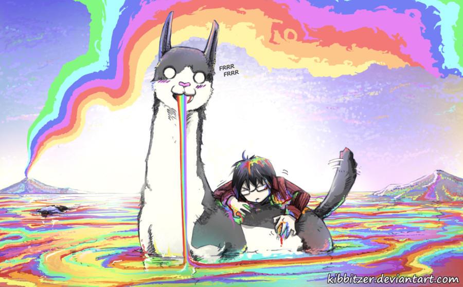 LlaMU: The Apocalypse Rainbow-Llama by Kibbitzer