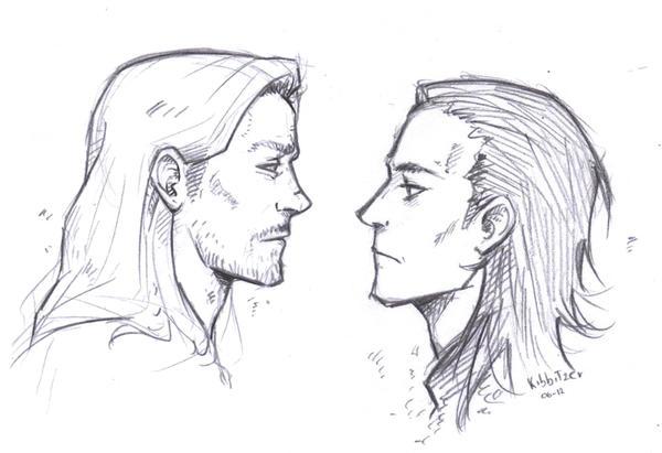 Thor- Loki sketch by Kibbitzer