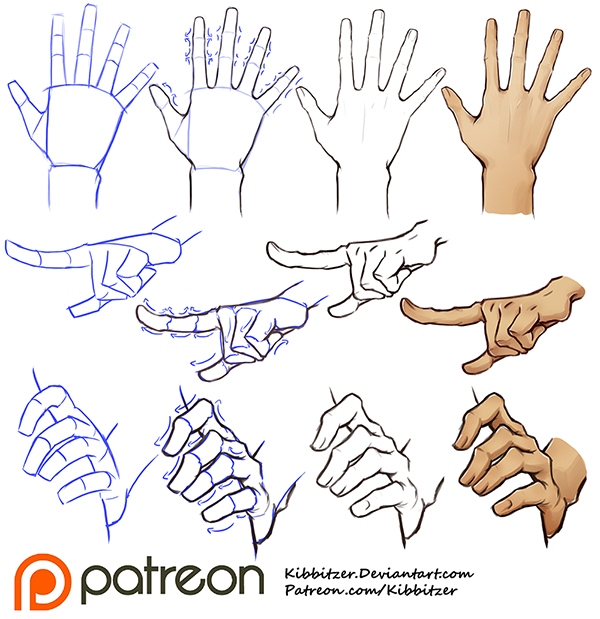 Hands tutorial by Kibbitzer on DeviantArt