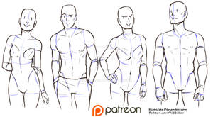 Casual standing pose reference sheet