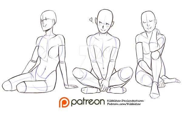 sitting on the ground reference sheet by kibbitzer on deviantart