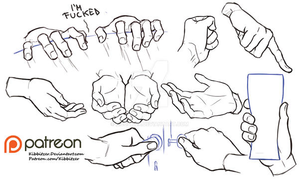 Hands reference sheet 7 by Kibbitzer