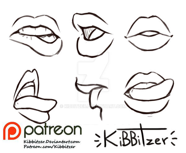 Line Drawing Lips : Lips reference sheet by kibbitzer on deviantart