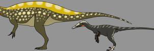 Irritator and Austroraptor by StygimolochSpinifer