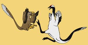 Deinonychus and Ornithomimid