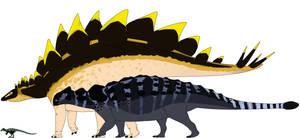 Scutellosaurus, Stegosaurus, Ankylosaurus