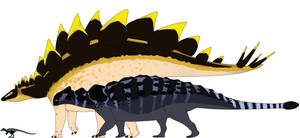 Scutellosaurus, Stegosaurus, Ankylosaurus by StygimolochSpinifer