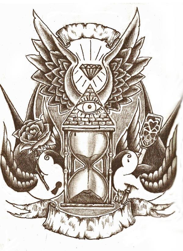 Sand Clock Drawing Tattoo