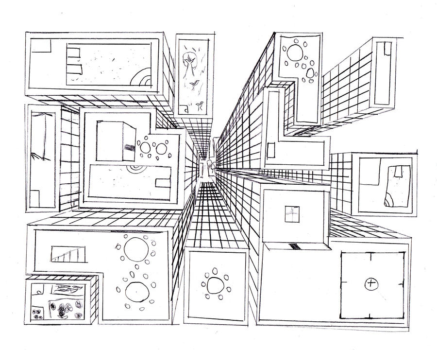 1 Point Perspective Room Step By Step