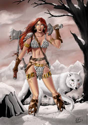 Red Sonja and her wolf