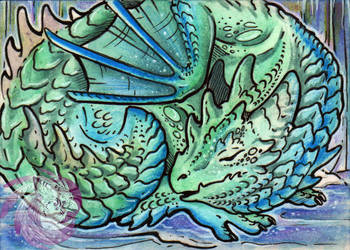 Baby Frost Dragon ACEO by Idlewings