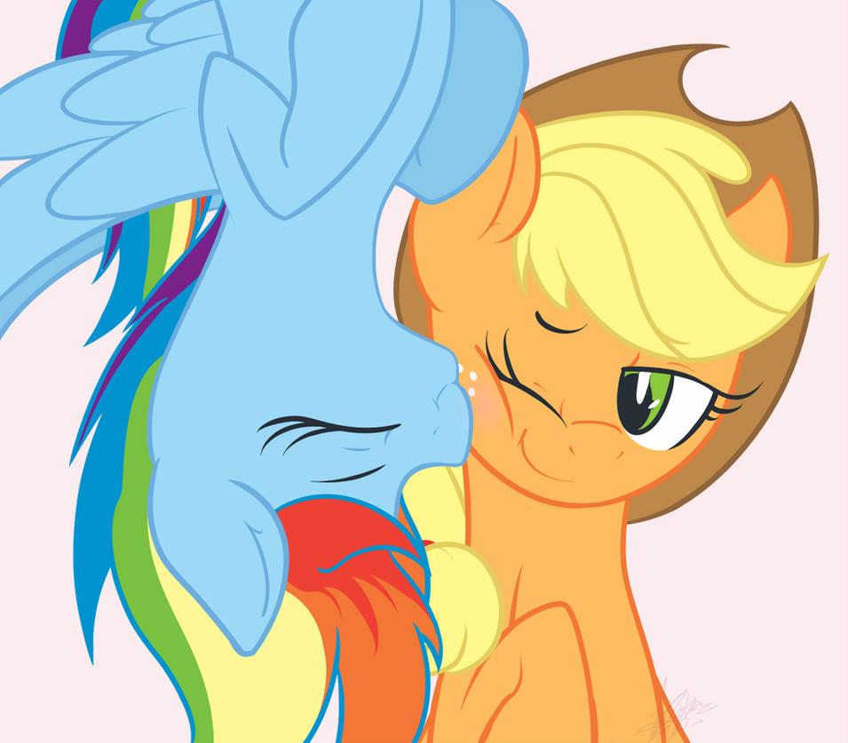 Applejack and rainbow dash kissing