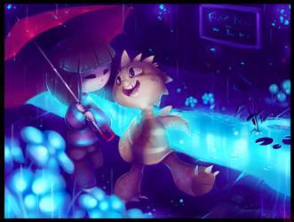 A Friend from Waterfall - Monster Kid and Frisk by WalkingMelonsAAA
