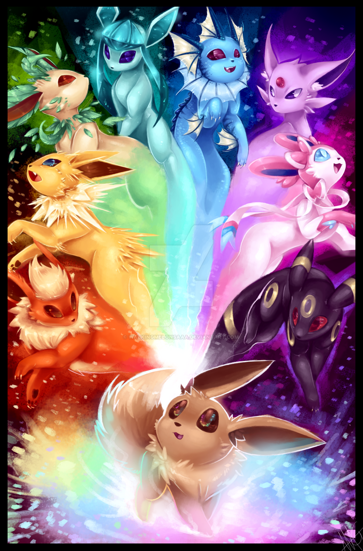 The possibilities - Eeveelution rainbow by WalkingMelonsAAA