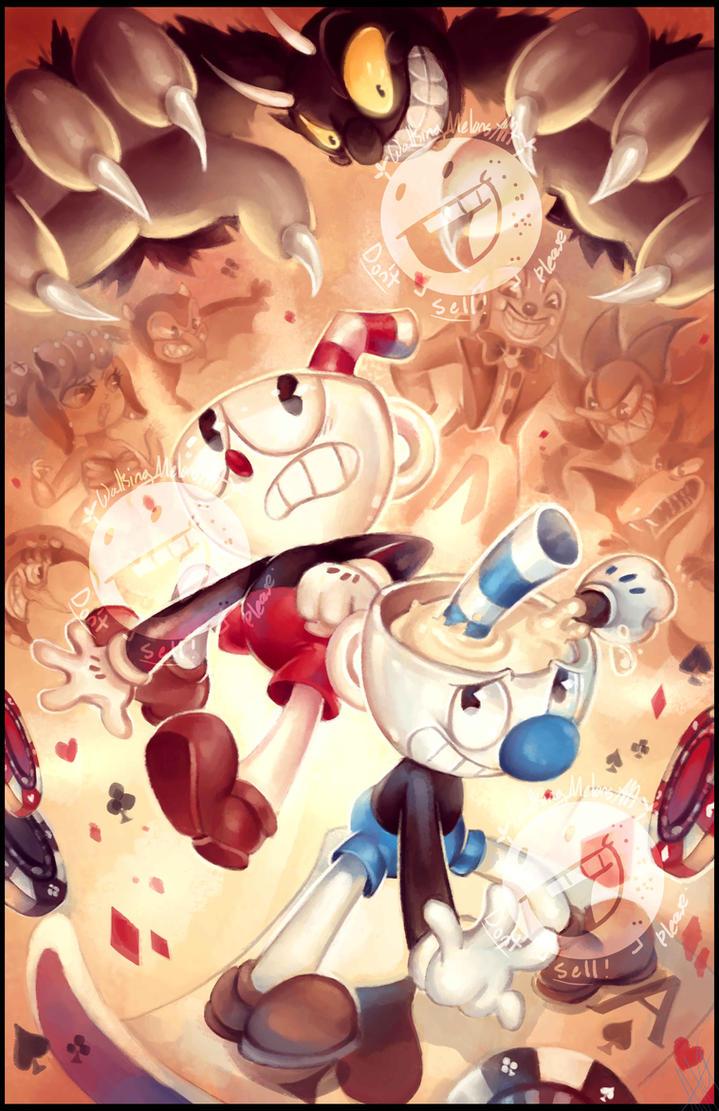 Cuphead and Mugman!!! :D by WalkingMelonsAAA