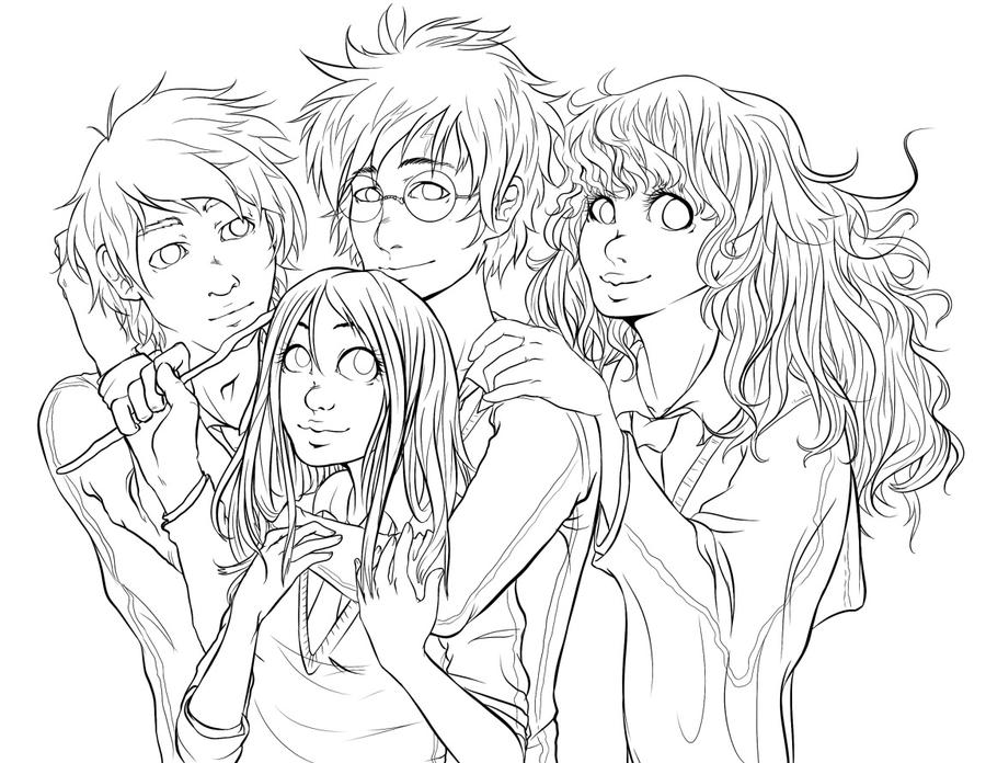 Line Drawing Harry Potter : Lineart harry potter crew by hadh on deviantart