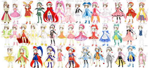 40 Sakura costumes ref sheet by hadh