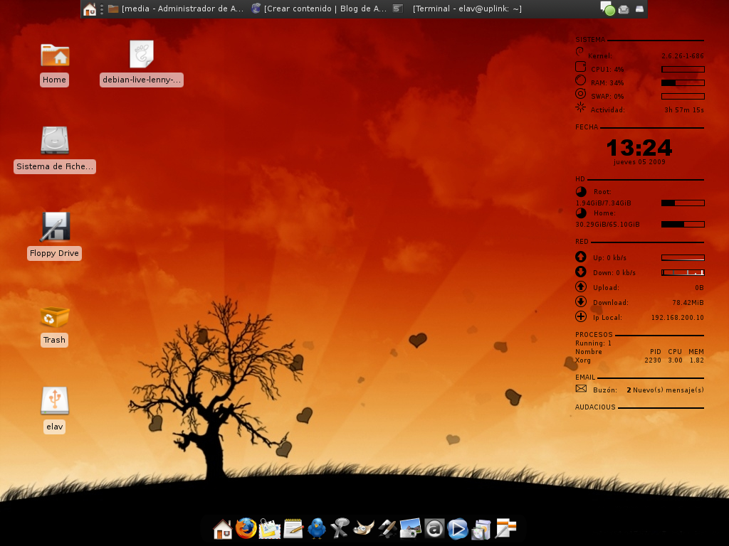 Xfce Debian Conky Wbar by elavdeveloper on DeviantArt