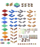 Isometric fish and vegetable market components