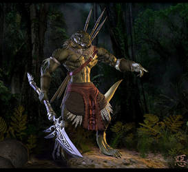 Aphashia, Lizardman Warrior by Shinsen