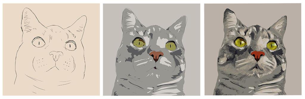 Grey cat - work in progress by pilouuuu