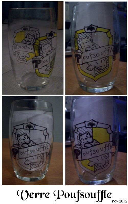 Hufflepuff glass by OliviaWinona