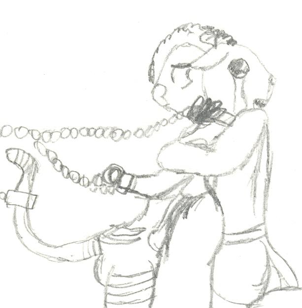 Abe comforts chained Nayu by NayuSiminova