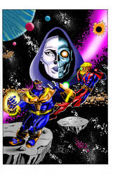 Thanos vs. Warlock color by kwill916
