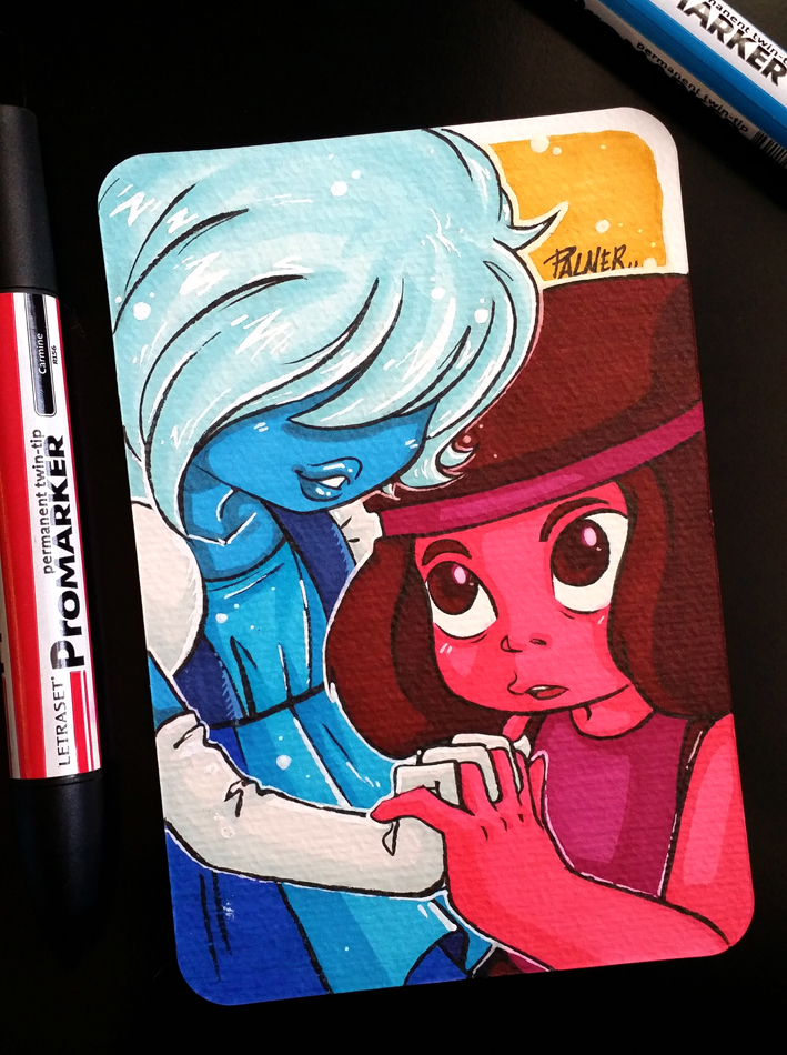 Steven Universe Ruby and Sapphire Postcard by lpspalmer