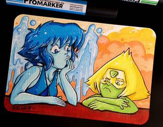 Steven Universe Lapislazuli and Peridot postcard by lpspalmer