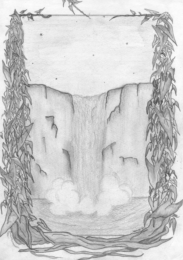 Waterfall Sketch by blueaotearoa on DeviantArt