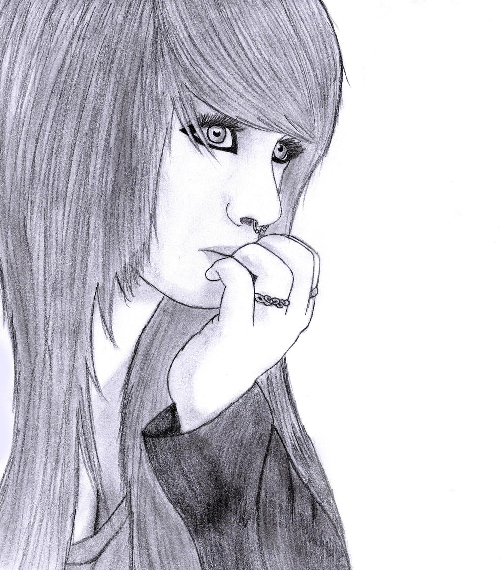 How to draw sad girl