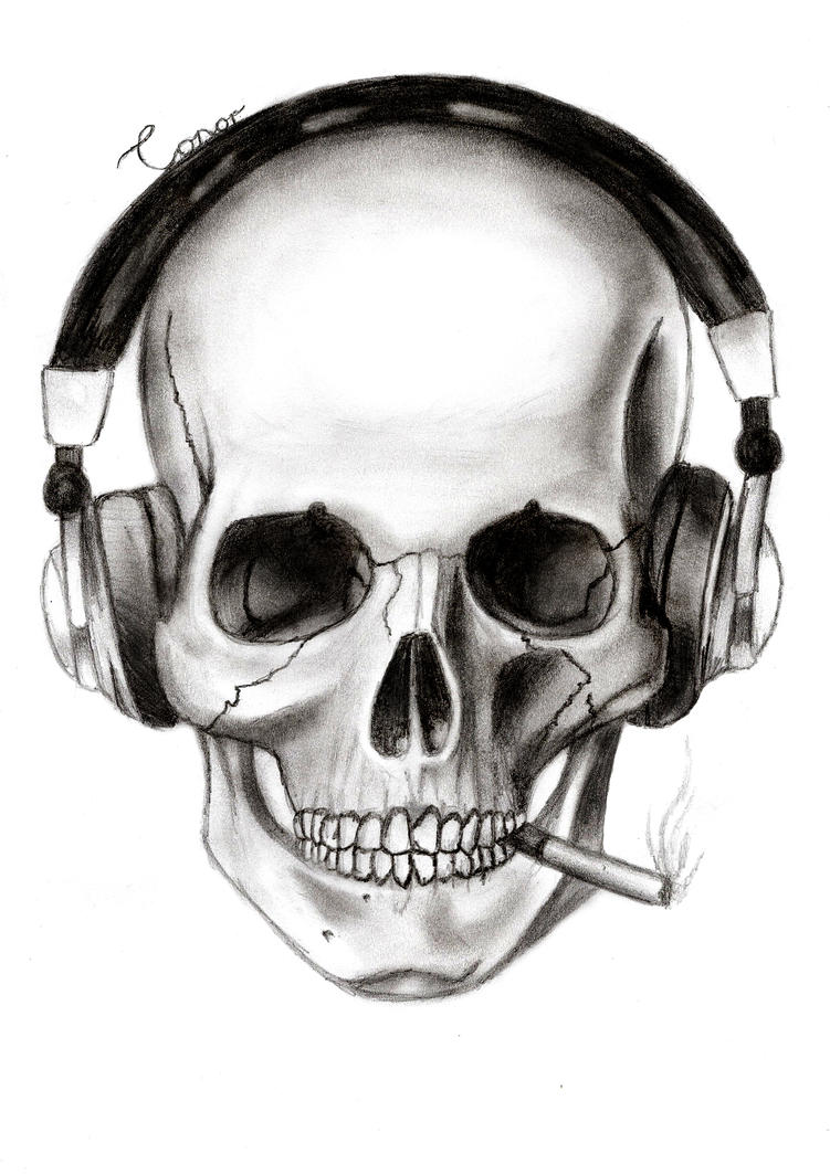 Headphones Skull Art Drawings