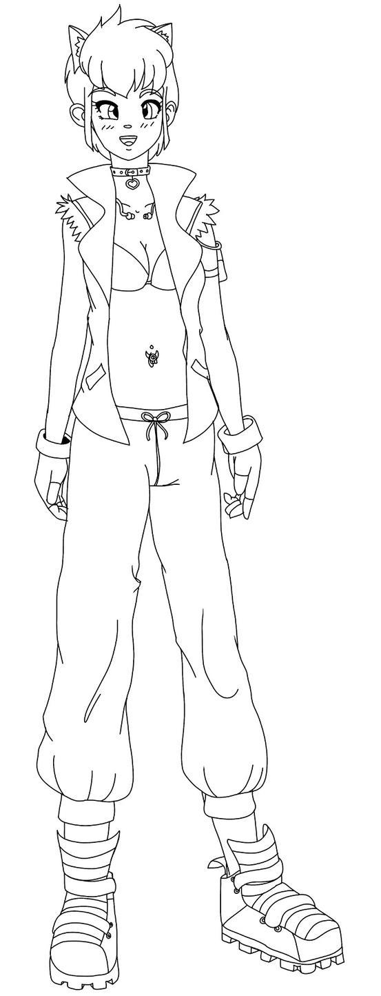 RWBY OC: Denim (Linework) by Kalebur