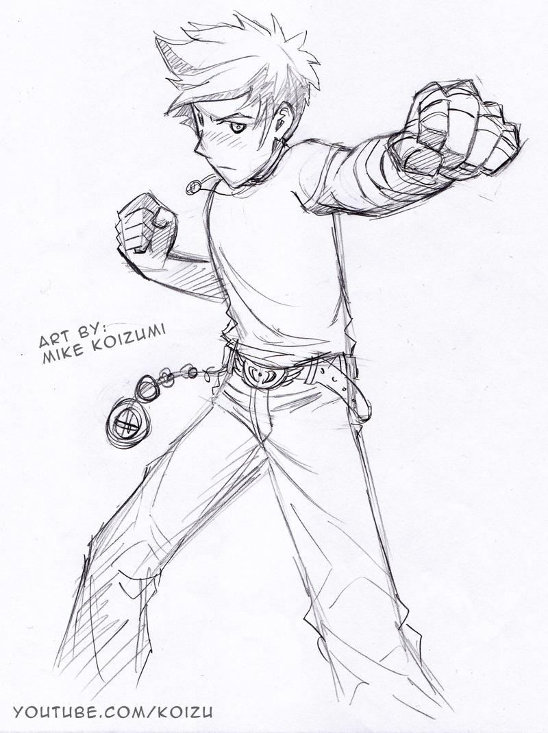 Manga Fighting Pose: Punching Fists