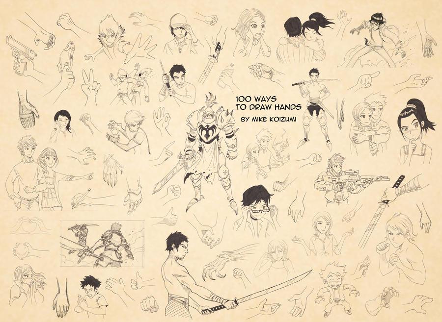 100 Ways to Draw Hands by MikeKoizumi