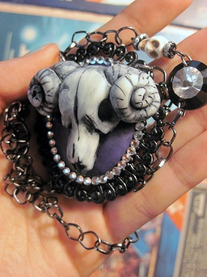 Hand sculpted glow in the dark ram skull cameo wit by slinkskull