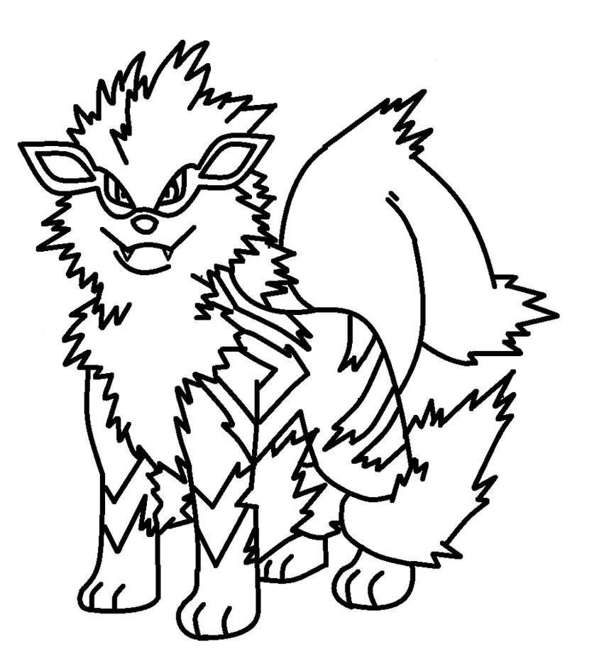 Pokemon coloring pages arcanine - View Larger Image Image