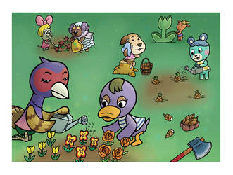 Planting Flowers by JellySoupStudios