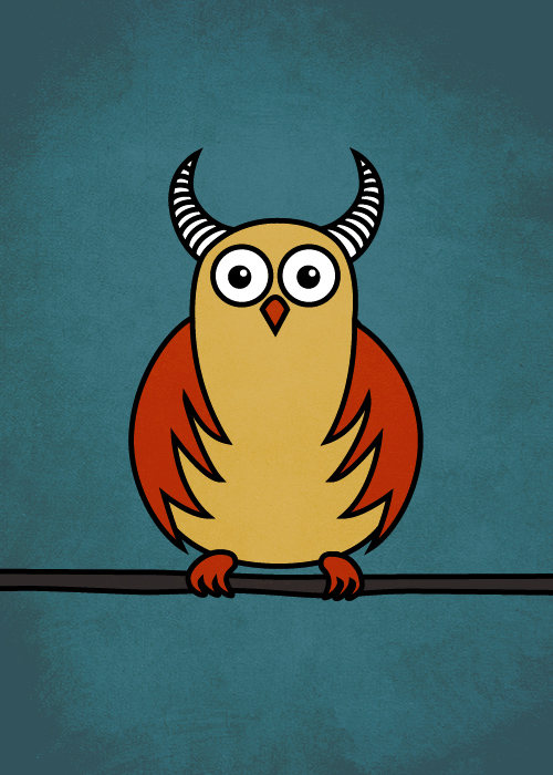 Funny Cartoon Horned Owl by azzza