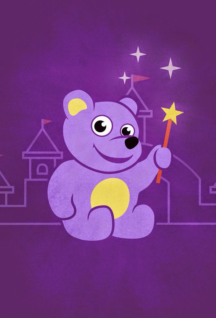 Purple cartoon teddy bear fairy  by azzza