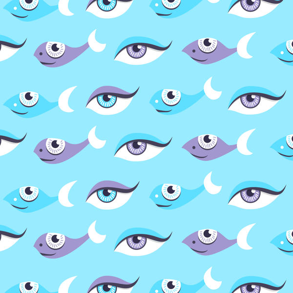 Fish And Eyes Art Print by azzza