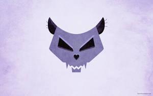 Stylized cat skull desktop wallpaper by azzza