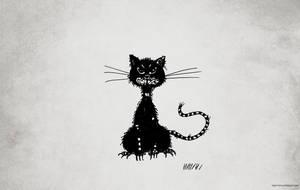 Ragged evil black cat desktop wallpaper by azzza