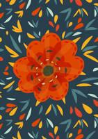 Decorative whimsical orange flower